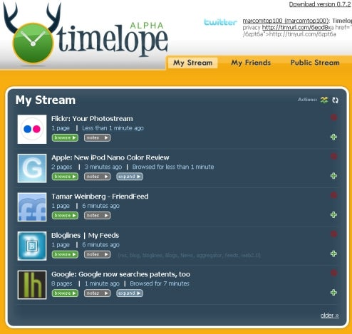 Timelope Tracks Your Browsing History