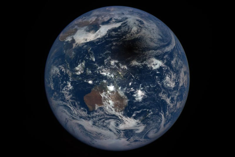 Earth Looks Bruised in the Shadow of the Eclipse