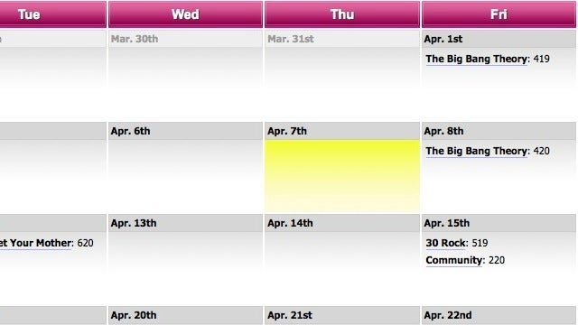 Episode Calendar Tracks Your Favorite TV Shows So You Don't Have To