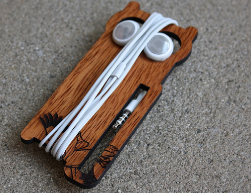 Laser-Cut Earbud Owl Keeps Your Cords Tangle-Free
