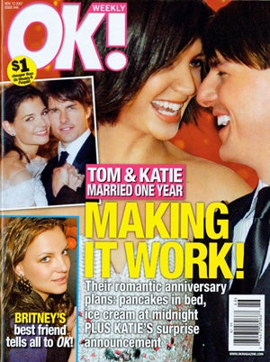 Today In Tabloids: TomKat May or May Not Split, Britney Snorts, L.C. Dates