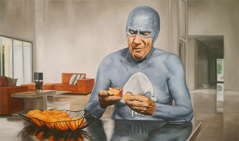Paintings of an aging superhero's senior moments