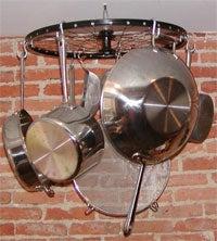 Make a pot rack with a bike wheel