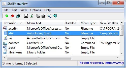"ShellMenuNew Cleans Up the Windows Explorer ""New"" Menu"