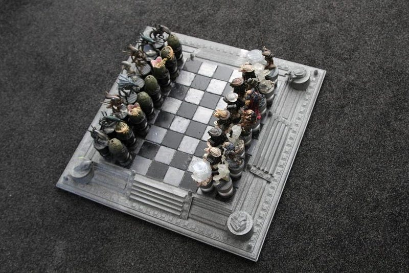 This Alien versus Predator chessboard was built for chessboxing