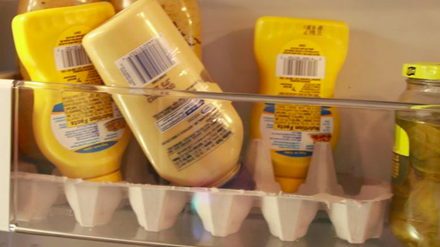 Keep Your Fridge Clean from Condiment Spills with an Egg Carton