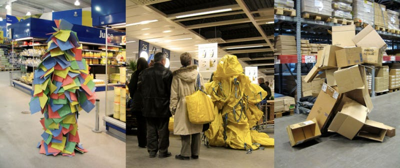 Really Bored Dude Camouflages Self as Paper, Bags and Boxes at an Ikea Store