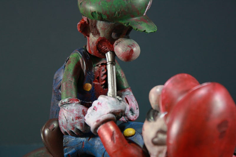 Zombie Luigi is Trying to Bite Mario's Face Off