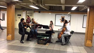 Watch As This Busking Quartet Leads To Busking Ballet In The NYC Subway