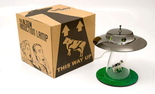 A Lamp That Celebrates Alien Cow Abductions Everywhere