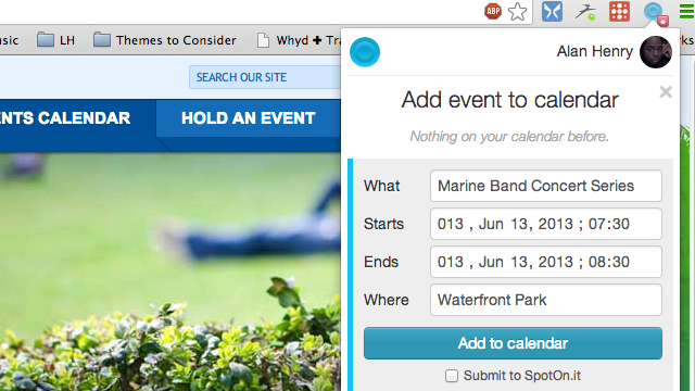 SpotOn.It Adds Events from the Web to Your Google Calendar