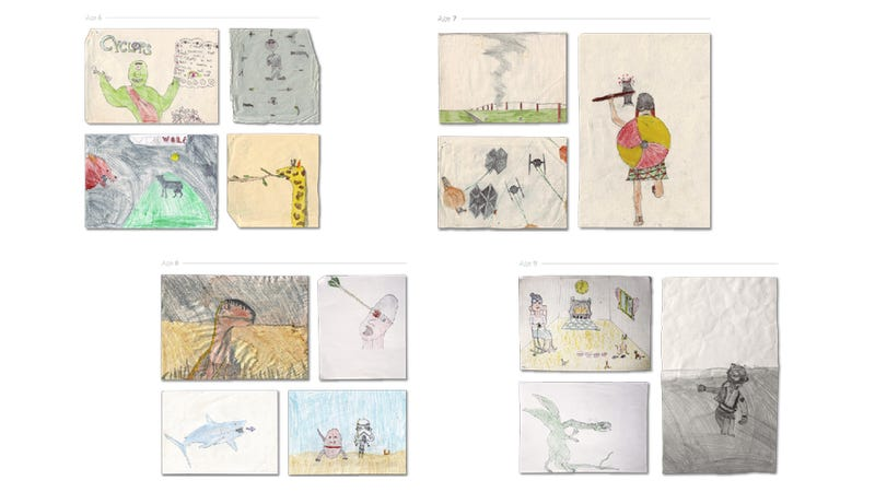 See the difference between an artist's drawings from age 2 to now