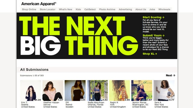 American Apparel Introduces Size XL, Holds Search For 'Booty-Ful' Models