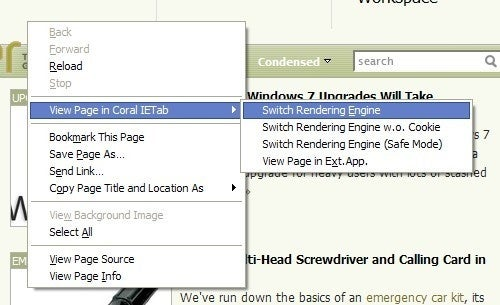 Coral IE Tab Displays IE-Only Sites in Firefox