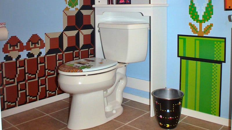 Epic Gaming Bathroom Desperately Needs a Warp Pipe Toilet