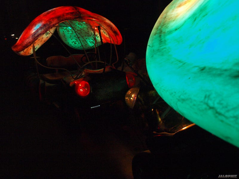 A Pair Of Golf Karts Turned Fiberglass Color-Changing Bugs In The Manhattan Blackout