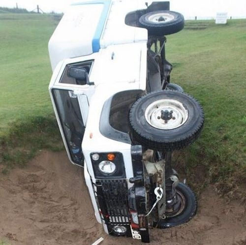 Drunken Pirates Crash Land Rover Into Sand Trap