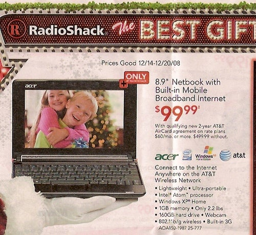 Radioshack Officially Selling 3G Aspire One for $1540