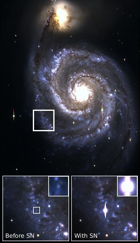 Intergalactic survey discovered a star just moments away from going supernova