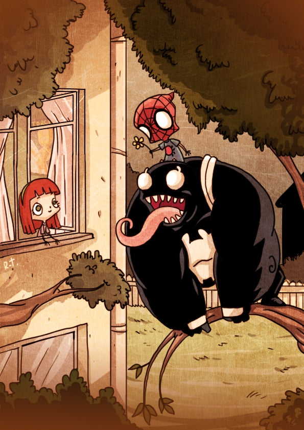 Venom and Spidey are the best of friends in these adorable superhero illustrations