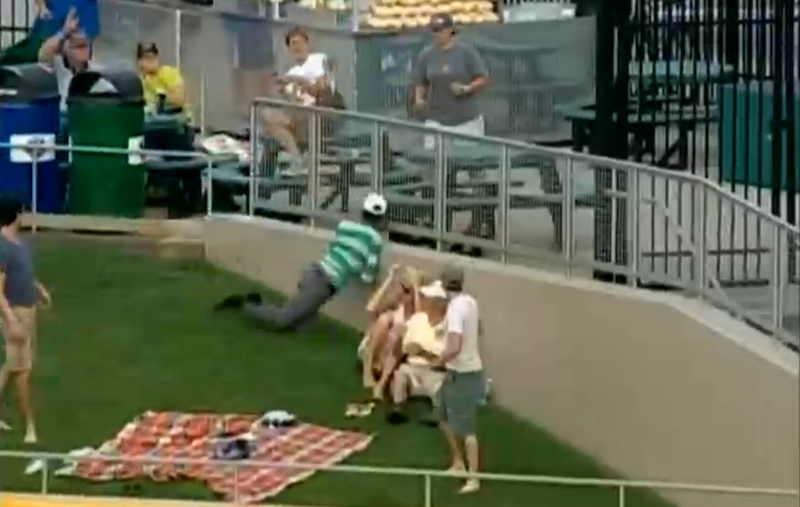 Fan Makes Amazing Catch, Bashes Face Into Wall
