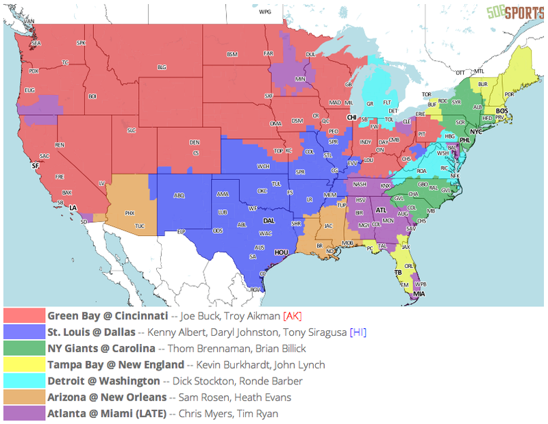 Which TV Market's Getting Screwed Today? Your Week 3 NFL Viewing Maps