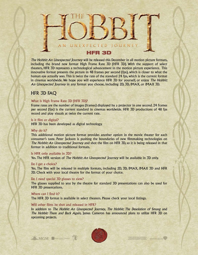 The Hobbit Comes With an FAQ Explaining Why It'll Look So Weird