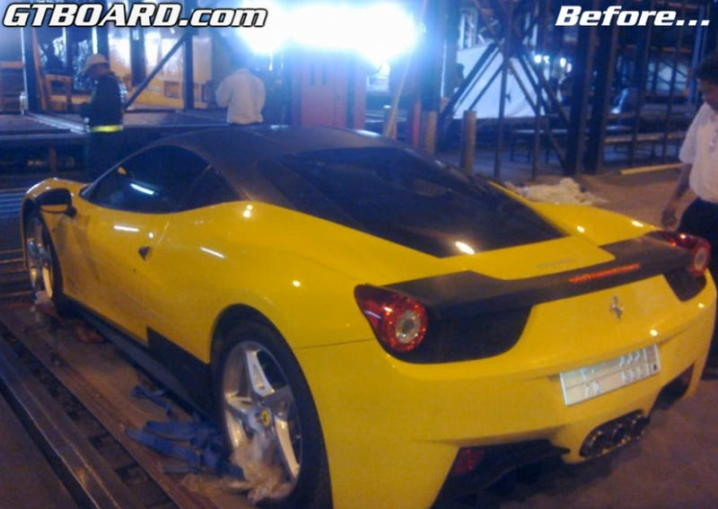 Airport Fire Destroys $469K Custom Ferrari, Transporter Offers $46K