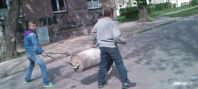 Ridiculously powerful handheld cannon blows up on the street