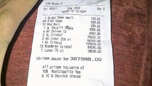 This is a receipt for a $105,431 bar tab