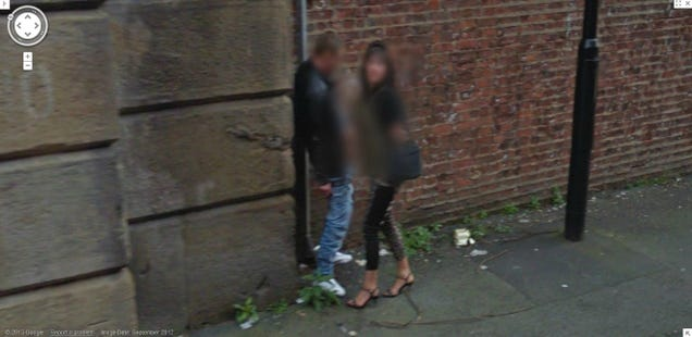 google streetview captures prostitute giving public handjob in manchester england