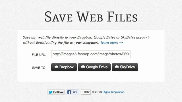 Save Web Files Instantly Saves Online Files to the Cloud