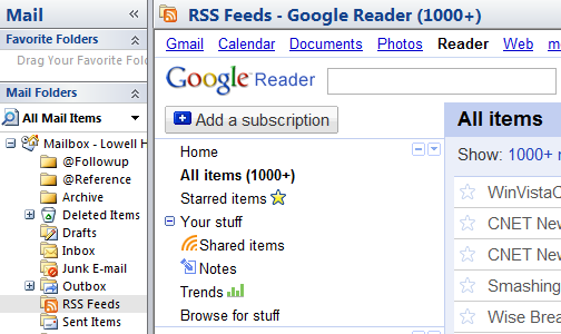 Use Google Reader from Within Outlook