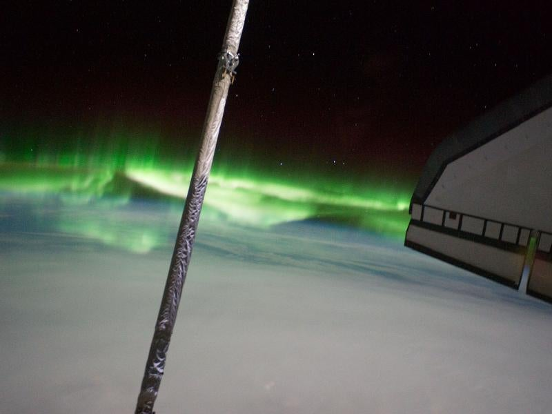 An awesome aurora photographed from the space shuttle Atlantis