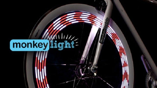 Mini Monkey Lights Turn Bike Wheels into Spinning 8-Bit Art