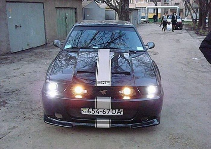 Crazy Ukrainians Build Ford Mustang From Crappy Hatchback
