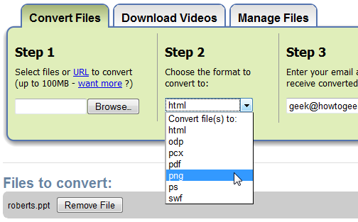 Zamzar Converts Powerpoint Into Easy-To-Share Images