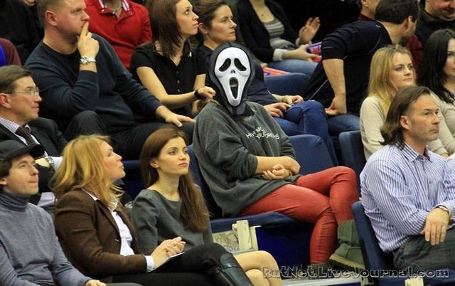 Andrei Kirilenko's Wife, For Unknown Reasons, Wore A Scream Mask