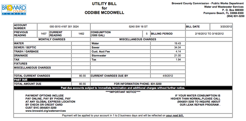 Goodbye, Old Friend: The Last Oddibe McDowell Water Bill We'll Ever See Is $80.55