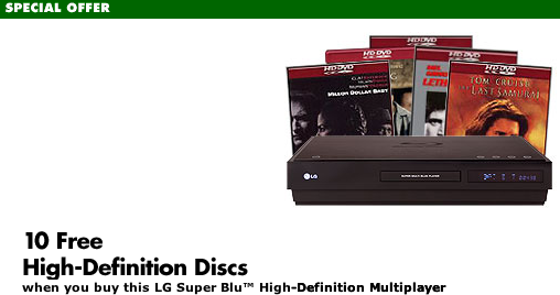 LG BH100 Hybrid Disc Player Plus 10 Free HD DVD or Blu-ray Discs!