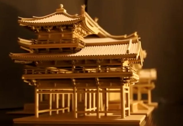 Elaborate Buddhist Temple Made From Discarded Amazon Boxes