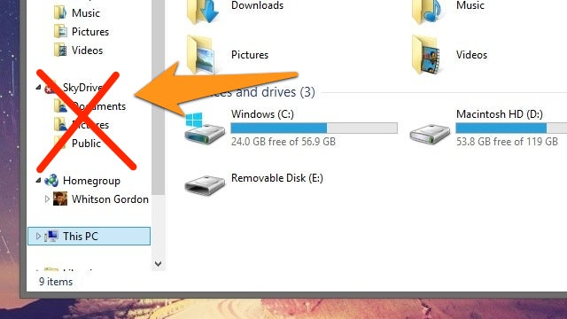 How to Get Rid of SkyDrive in Windows 8.1 Explorer