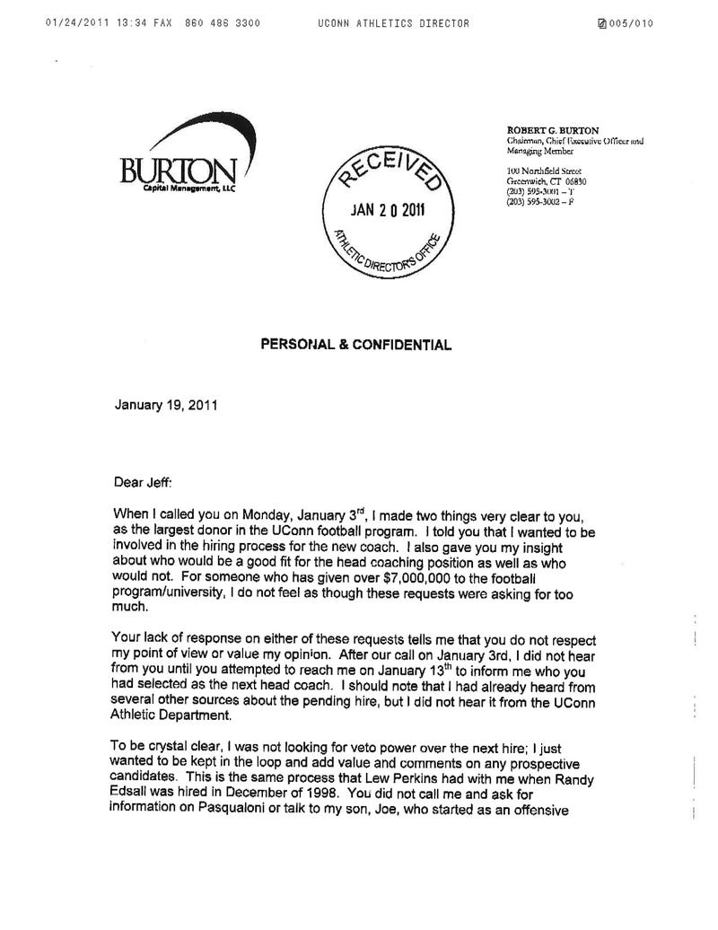 Here's The Angry Letter That UConn Donor Wrote Demanding His Money Back