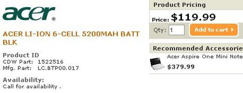 6-cell Acer Aspire One Battery Spotted, Priced