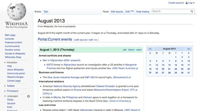 Wikipedia's Date View Keeps You Caught Up on Current Events