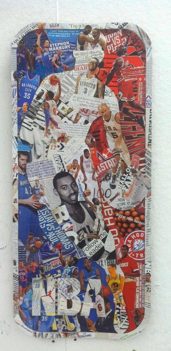 Someone Made An NBA Logo Collage Out Of Old Basketball Magazines