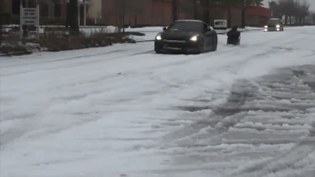 Watch Some Idiots Go Sledding Behind A Nissan GT-R
