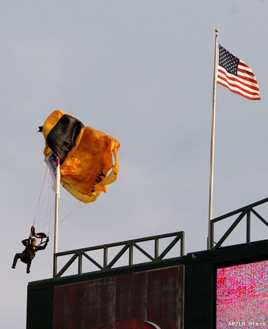 Skydiver Gets Stranded Atop Rangers Ballpark