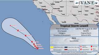 No, Tropical Storm Lowell Won't Hit California