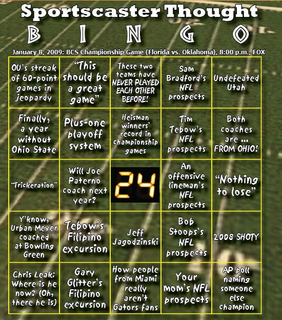 A Deeply, Deeply Flawed BCS Bingo Card